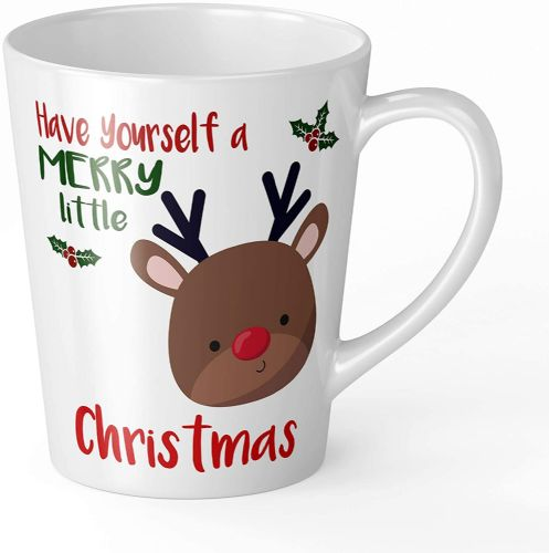 Merry Little Christmas Reindeer Novelty Gift Latte Mug